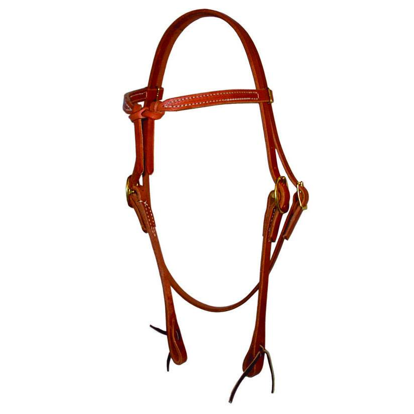 Berlin custom leather Headstall knotted browband met tie