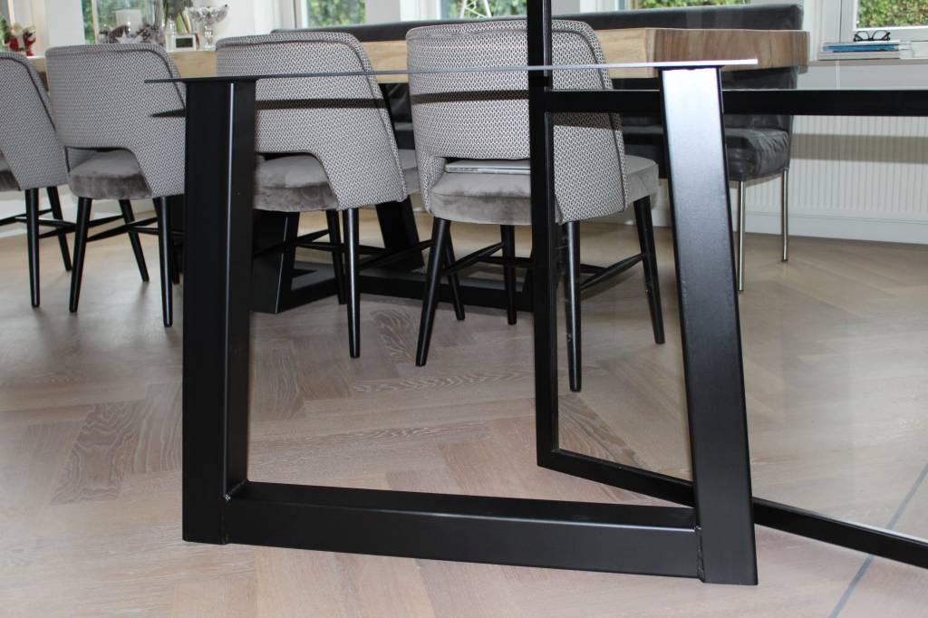 Tafelonderstel Trapezium 80x80 zwart