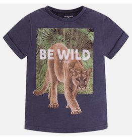 """Mayoral S/s """"be wild"""" shirt  Blue graph"""