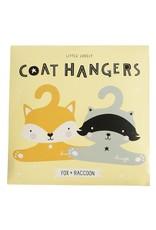 A Little Lovely Company Coat hanger set Raccoon & Fox