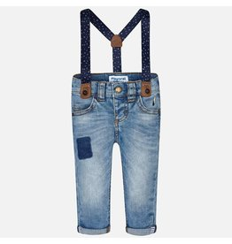 Mayoral Denim pants with suspenders Light