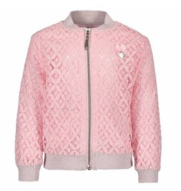 Le Chic Baby Girls Bomber Jacket Fancy  Lace Pink Crystal