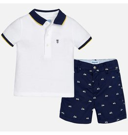 Mayoral Printed shorts and polo set Blue