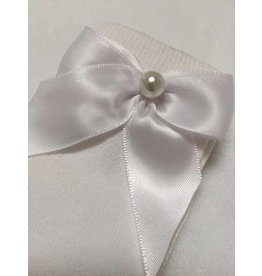 Meia Pata Kneesocks Satin Bow & Pearl White