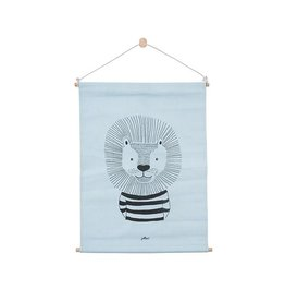 Jollein Poster Canvas Wild Animals Soft Blue 42x60 cm