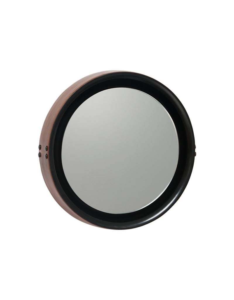 MATER SOPHIE MIRROR SMALL black stained mango wood brown leather DIA42