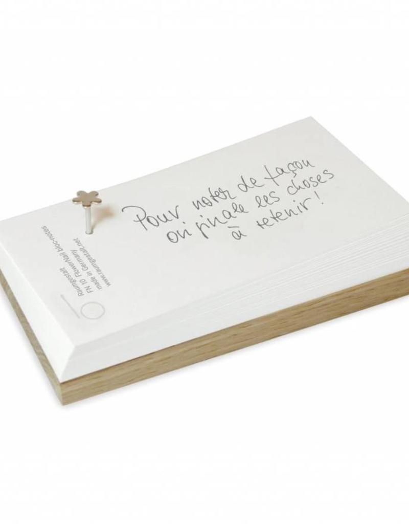 FlowerNail Notice, petit bloc notes chêne 7x14cm