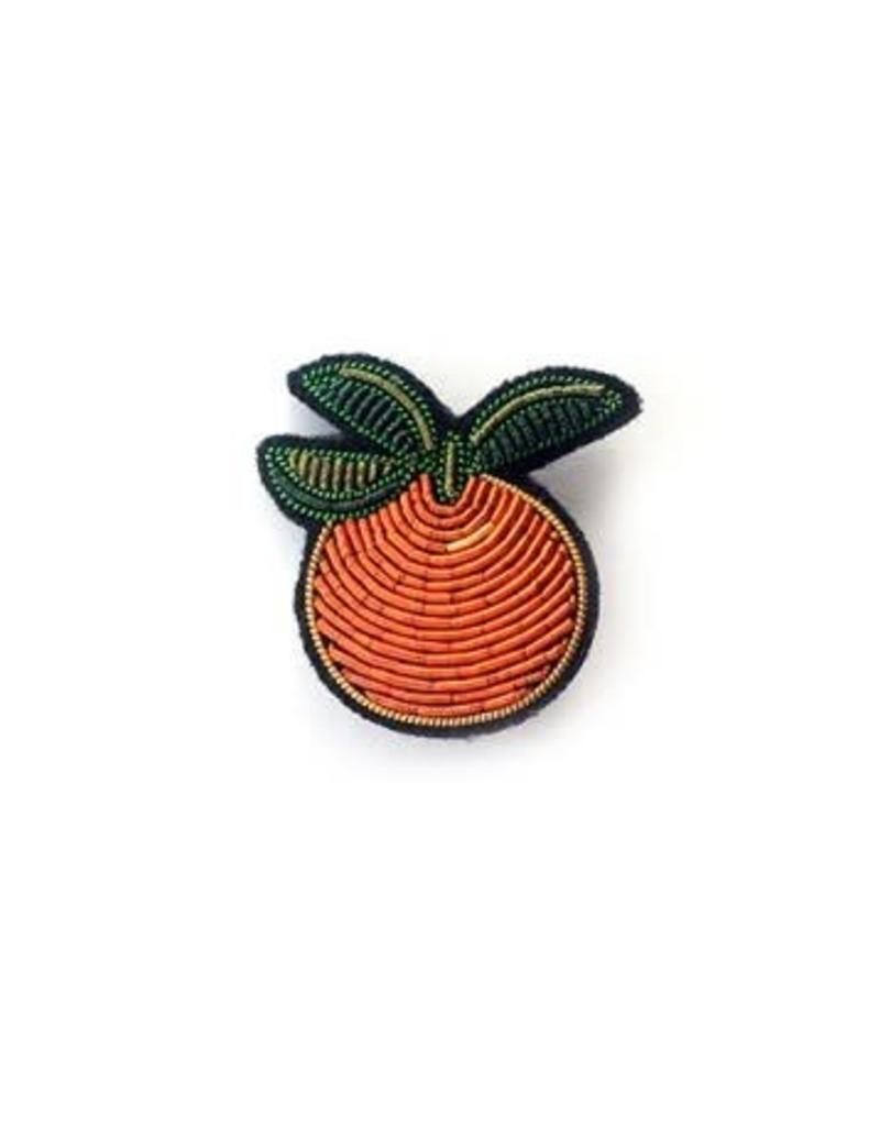 "Macon&Lesquoy MOYENNE BROCHE BRODÉE MAIN ""ORANGE"""