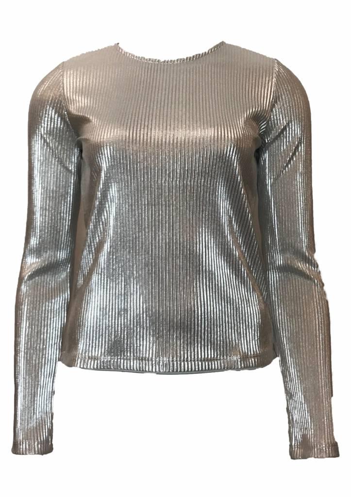 NA-KD PLEATED ROUND NECK black silver