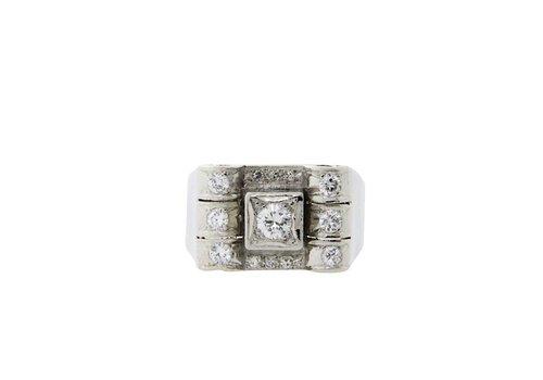 Platina vintage ring met diamant 950