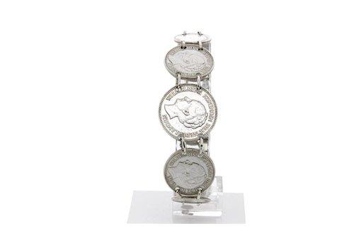 Zilveren armband met diverse muntjes 720