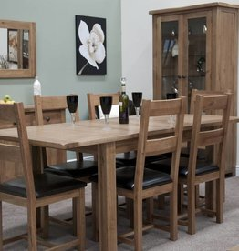 Rustic Oak Twin Leaf Dining Table