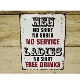 Men No Shirt - Metal Sign