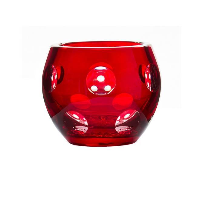 Ruby Crystal Tea Light Holder Gurasu Crystal