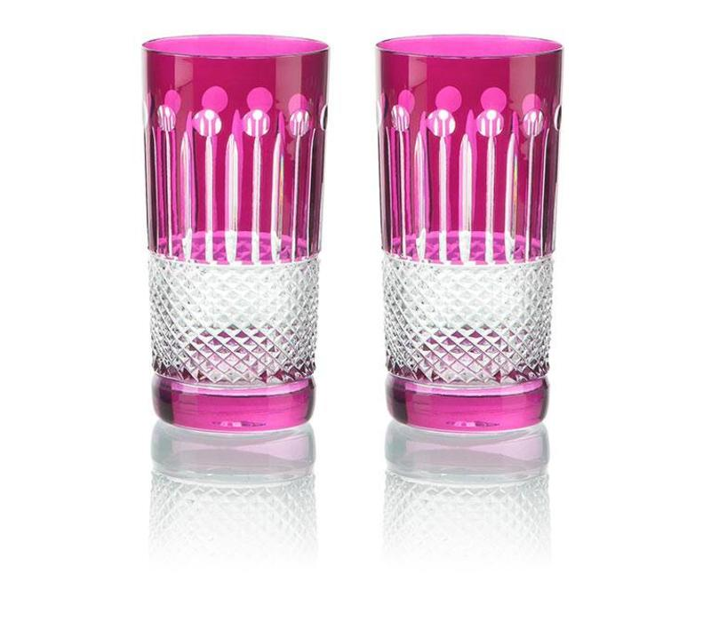 Raspberry Crystal High Ball Glasses, set of 6