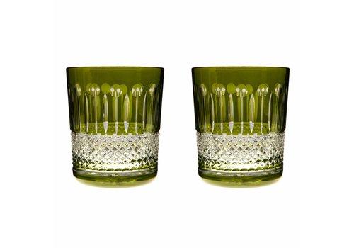 Gurasu Crystal  Rainbow Olive Green Double Old Fashioned, set of 2