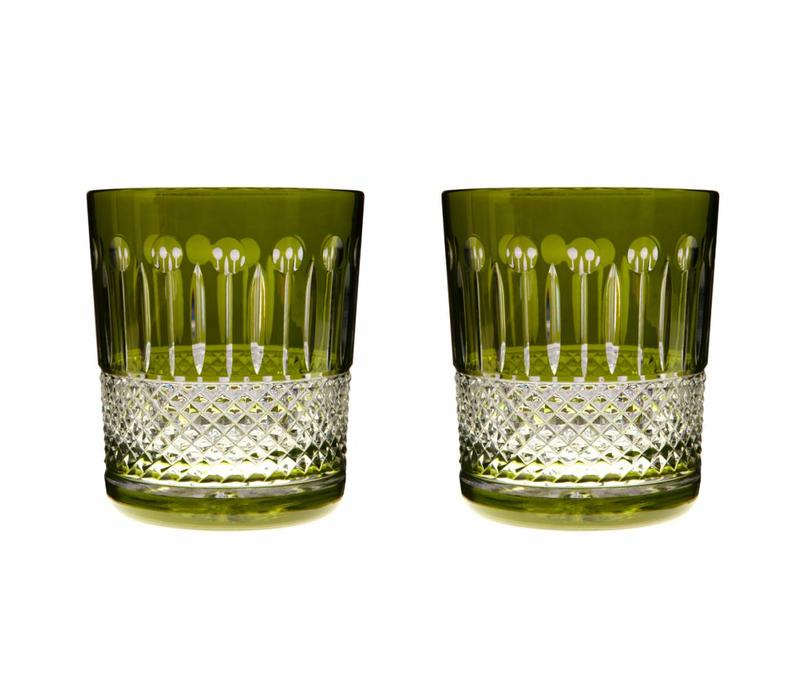 Rainbow Olive Green Double Old Fashioned, set of 2