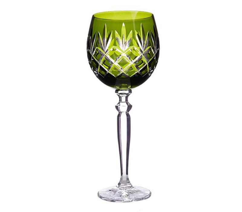 Pure Luxe Pineapple Crystal Wine Goblet, Olive Green