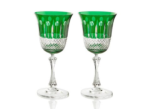 Emerald Crystal Red Wine Glasses, set of 2