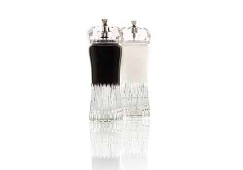 Black and White Crystal Salt and Pepper Grinders, pair