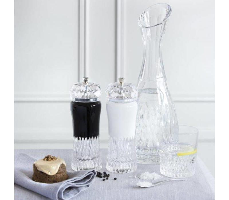 Black and White Crystal Salt and Pepper Grinders, pair