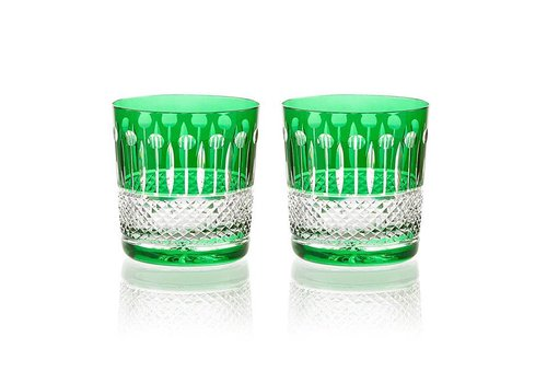 Gurasu Crystal  Birds of Paradise Emerald Green Tumblers, set of 2