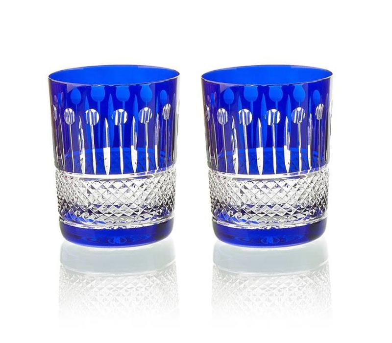 Birds of Paradise Crystal Tumblers in royal blue, set of 2