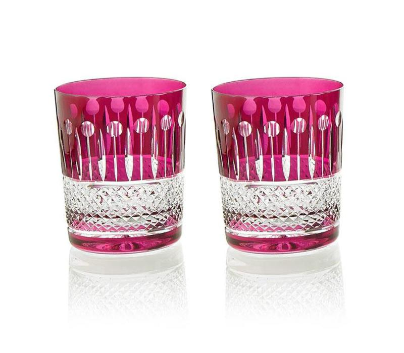 Birds of Paradise crystal tumblers in raspberry, set of 2