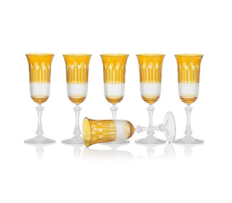 Amber Gold Champagne glasses, set of 6