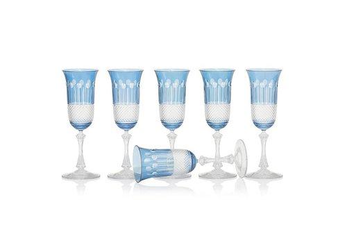 Gurasu Crystal  Sky Blue Champagne glasses, set of 6