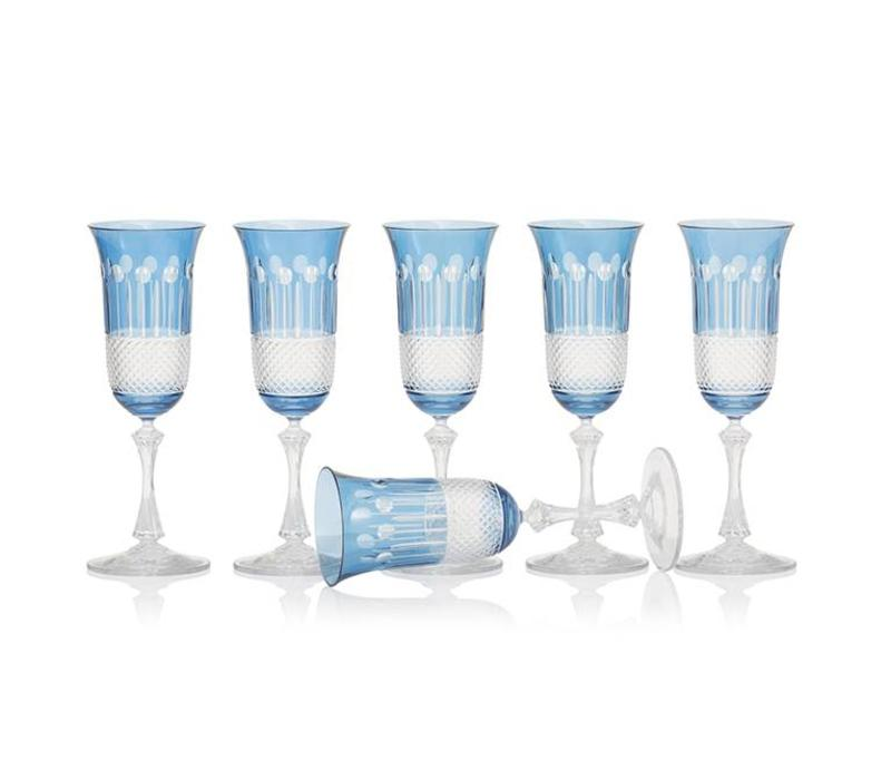 Sky Blue Champagne glasses, set of 6