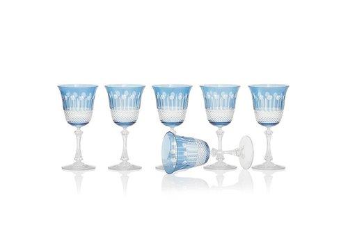 Gurasu Crystal  Sky Blue Wine Glasses, set of 6