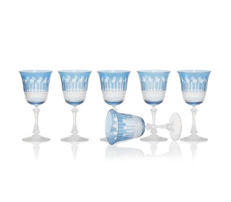 Sky Blue Wine Glasses, set of 6