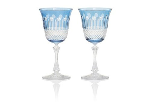 Gurasu Crystal  Sky Blue Wine Glasses, set of 2