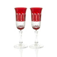 Birds of Paradise Ruby Champagne Glasses, set of 2