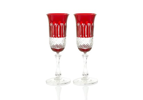 Gurasu Crystal  Birds of Paradise Ruby Champagne Glasses, set of 2