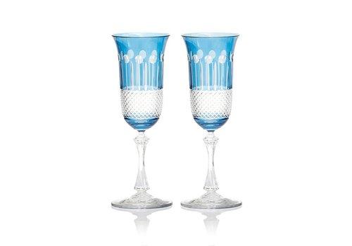 Sky Blue Champagne Glasses, Set of 2