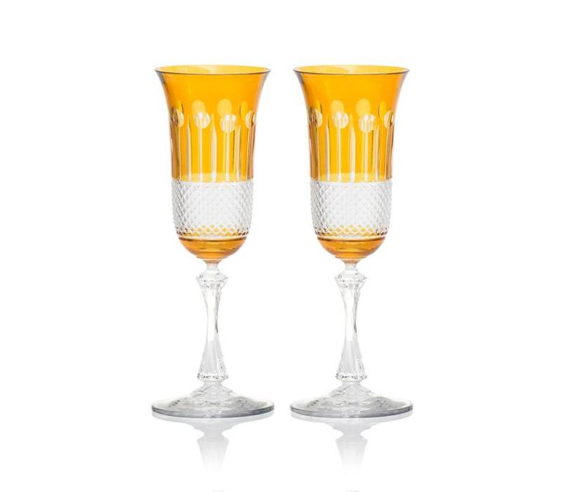 Amber Gold Champagne Glasses, Set of 2