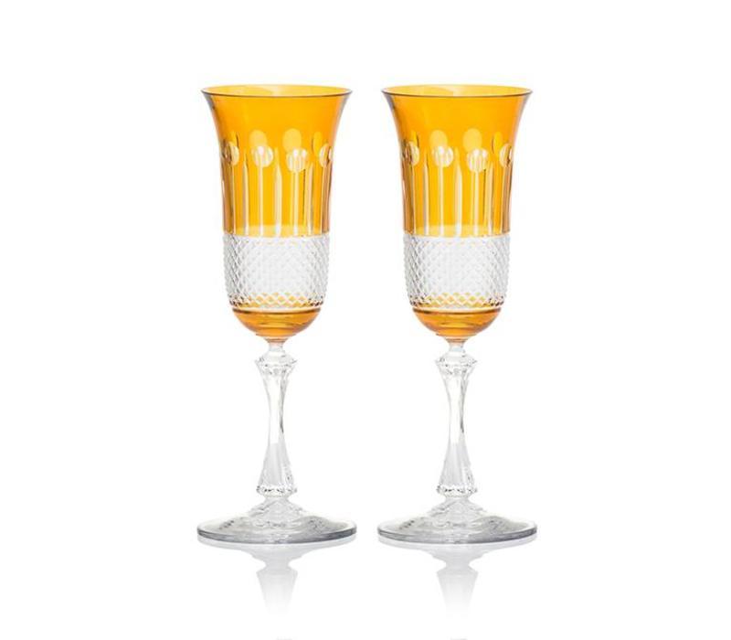 Amber Gold Champagne Glasses, Set of 2
