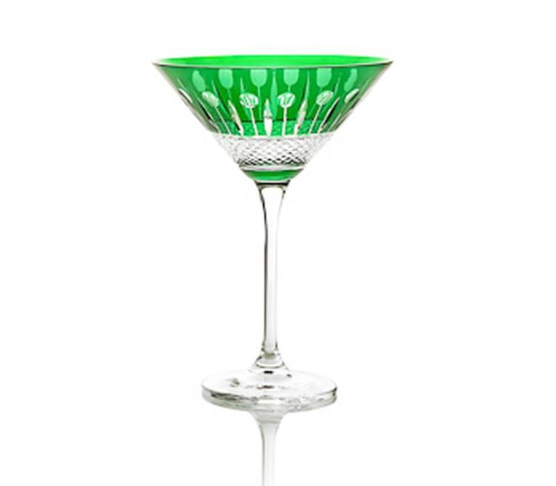 Martini Cocktail Crystal Glass, Emerald, single