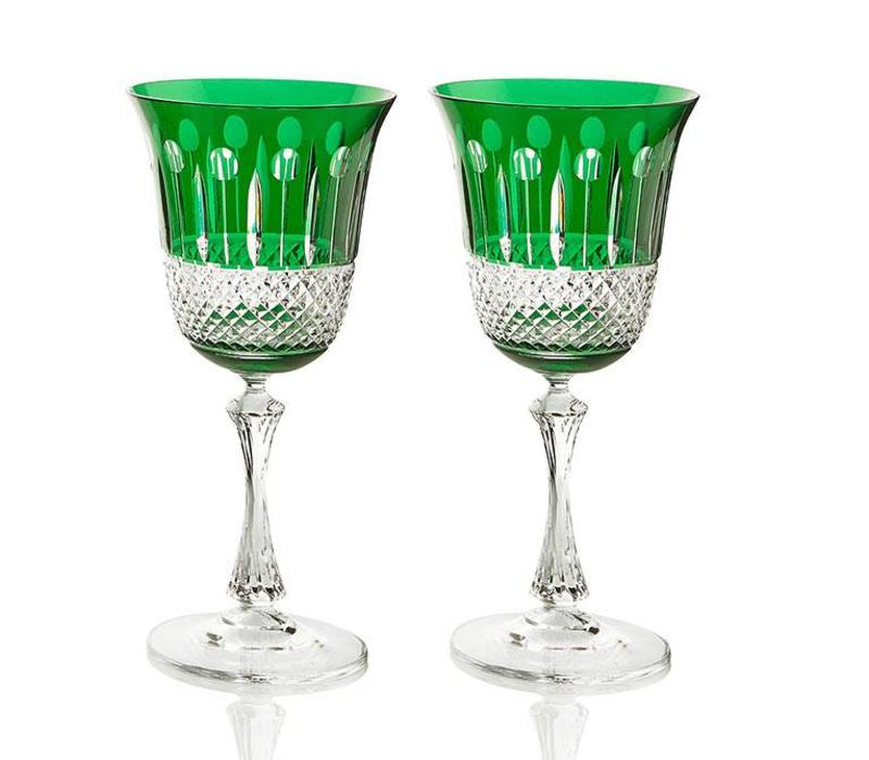 Emerald Crystal White Wine Glasses, set of 2