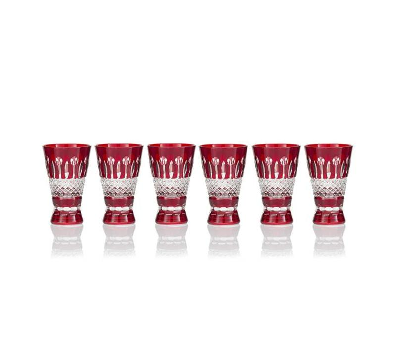 Birds of Paradise Shot Glasses, Ruby,  set of 6
