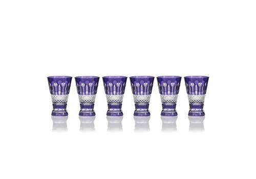 Gurasu Crystal  Birds of Paradise Shot Glasses, Purple,  set of 6