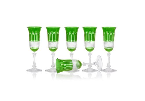 Gurasu Crystal  Emerald Champagne glasses, set of 6