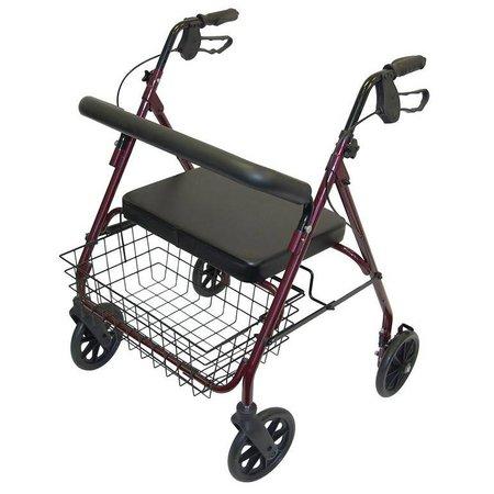 Rollator  - XXL -  aluminium - mandje - rood