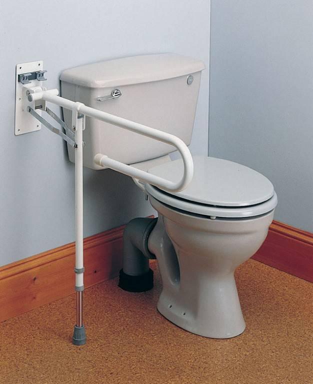 Toiletbeugel opklapbaar extra ondersteuningspoot. (Lengte 76 cm)