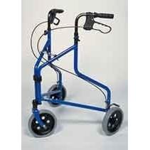 Rollator Delta - 3 wiel met tas - aluminium - blauw / - mandje en dienblad