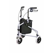 Rollator Delta - 3 wiel - met tas -grijs / mandje en dienbland