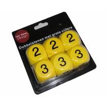 LOW VISION DESIGN Dobbelstenen,geel 30 mm,gr.cijfers,  6 st.