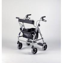 Rollator 8  - Transportstoel Combi - duwstang - Zilver